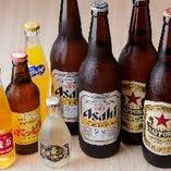 今時珍しいビールの大瓶を取り扱っています。ビール付きの友人や同僚とのお酒の席にどうぞ