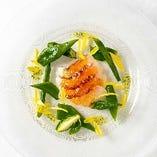 天然真鯛と緑野菜の旨味和風ゼリー