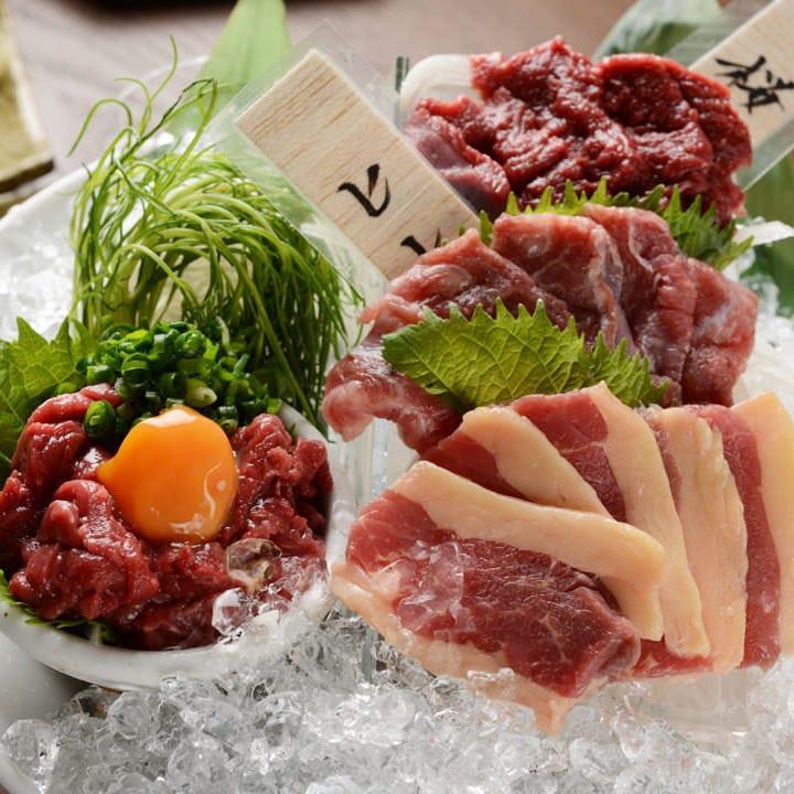 本場熊本・会津直送の鮮度抜群な肉刺しをお楽しみください◎