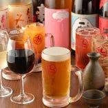 日本酒以外にも定番のビールや焼酎、ワインなどもございます◎