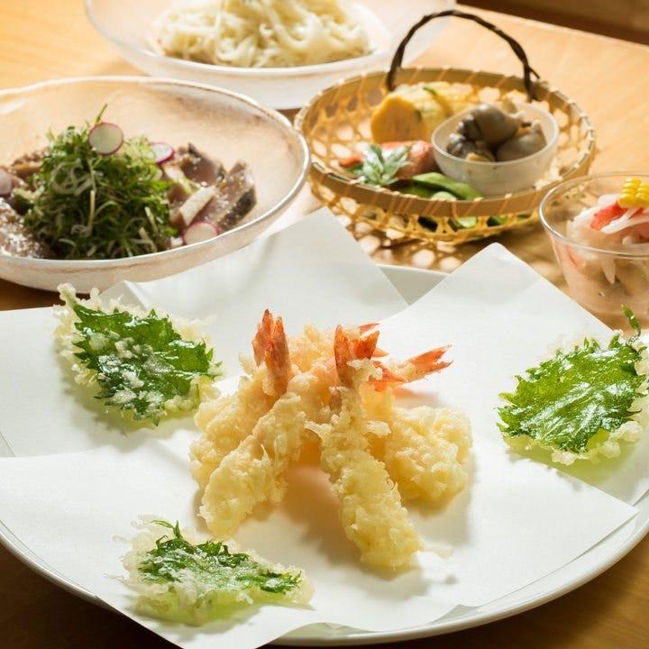 【お料理6品+天ぷら7品】季節の鮮魚や地野菜を味わえるご宴会プラン 3,850円。