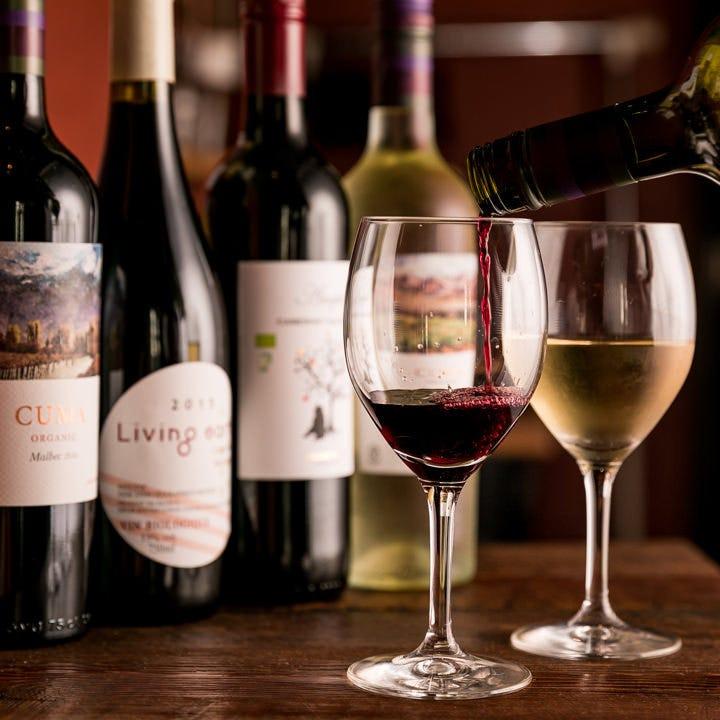 厳選ワインとバルらしい充実ドリンク