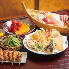 ゆったりとした船内で食べる天ぷら