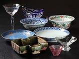 食器にこだわります。アンティークグラスと江戸時代の京焼きなど