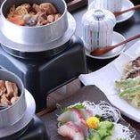 造盛り3種、天ぷら、茶碗蒸し、五目釜めしの〆までボリューム満点!