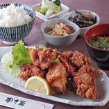 唐揚げ定食(ごはん・味噌汁・小鉢)