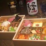 二段重 酒肴9種盛り+お惣菜 (2~4人前)