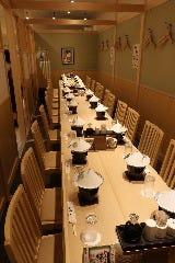 26名様テーブル禁煙個室 ビル喫煙場ございます