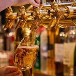 ドリンクは、イタリアビールやヱビスなど、豊富な品揃え
