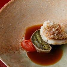 甘鯛のうろこ付きポワレ 九条ネギとベーコンのモザイク仕立て 京人参のピューレ 鮟鱇とオニオンのソース