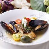 白身魚とムール貝アクアパッツァ