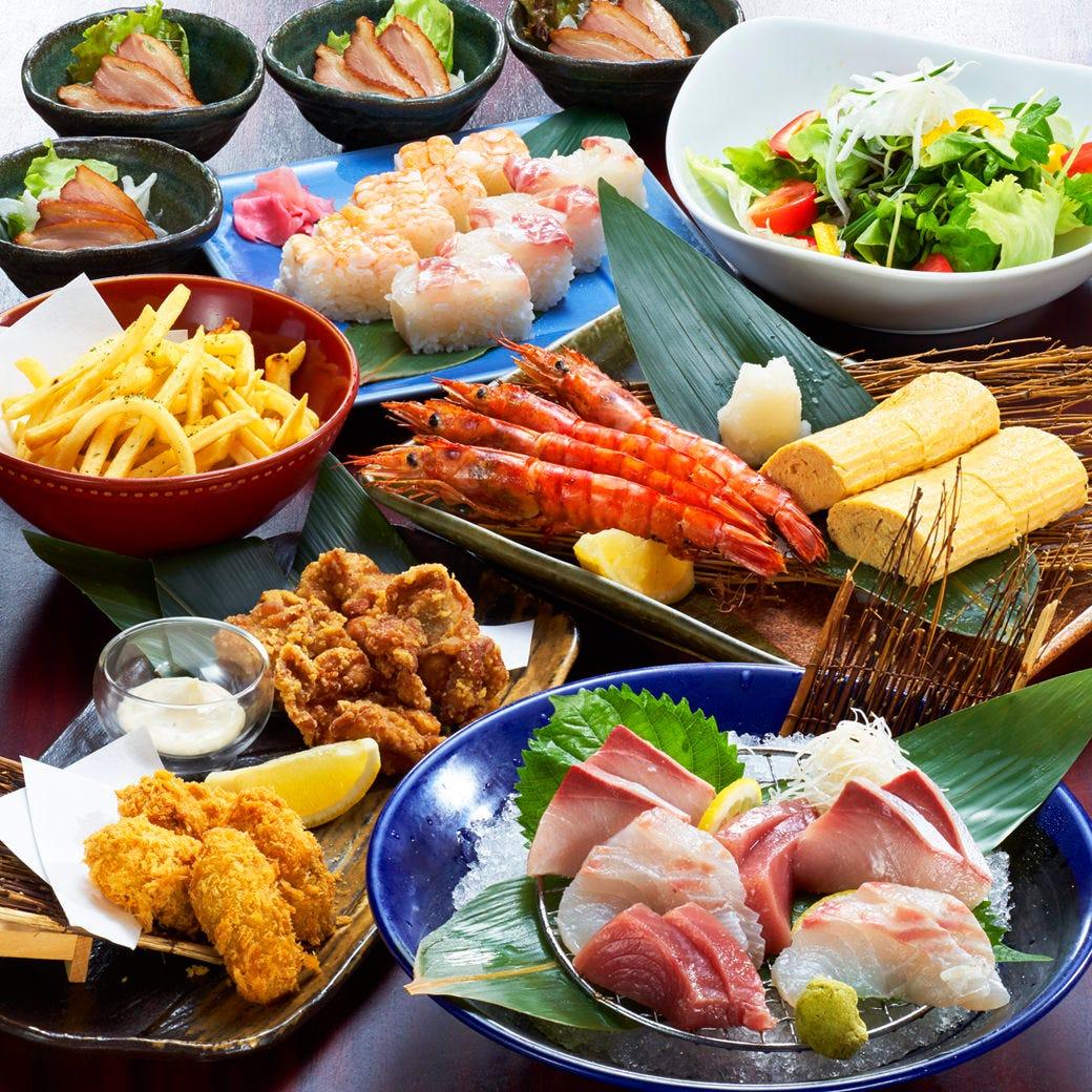 【気軽な集まりに】旬の造りと人気メニューかまくらコース3500円飲み放題付(全9品)★Go To Eat使えます