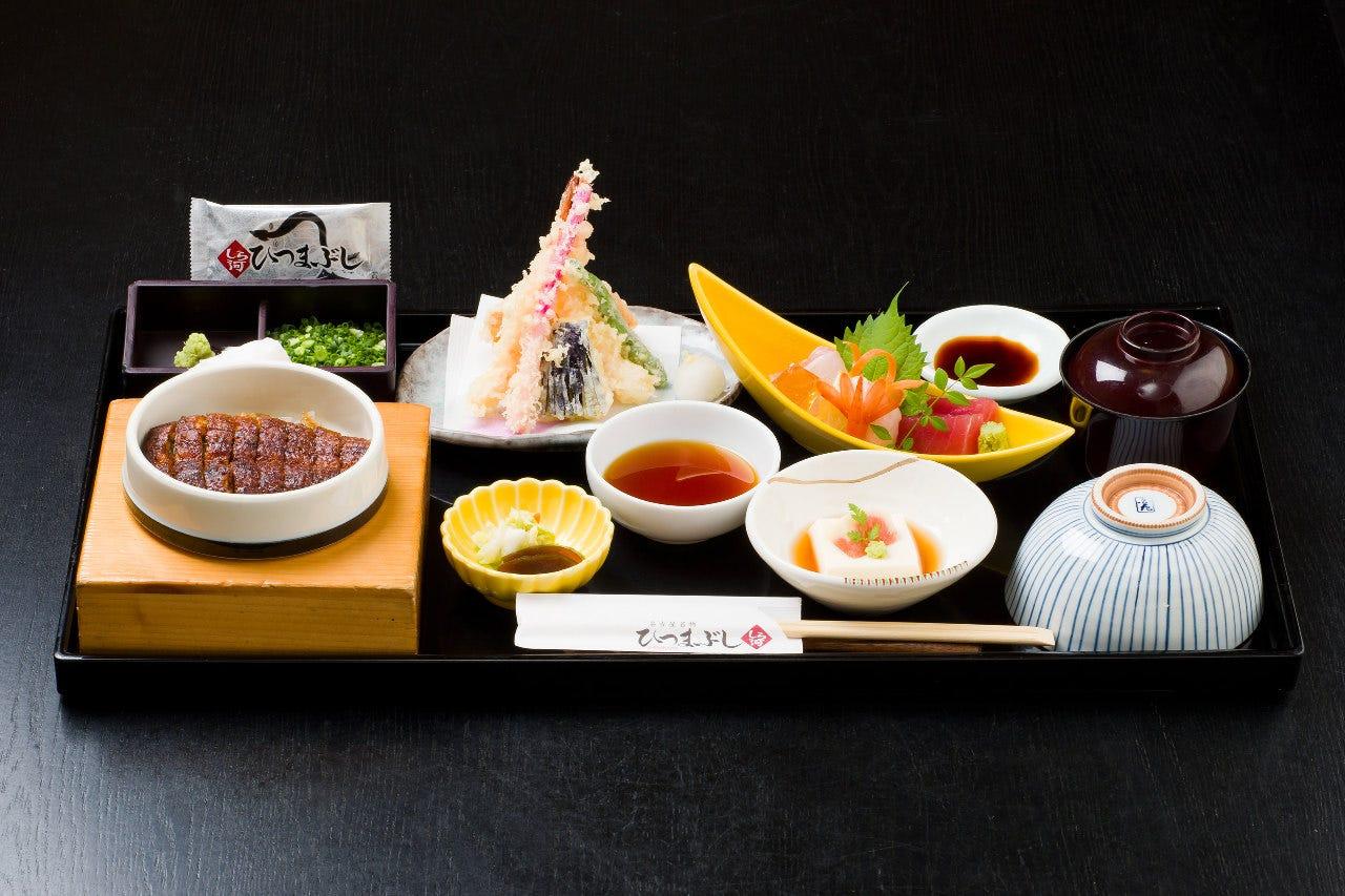 ミニひつまぶし・刺身・天ぷらが一度に食べられる御膳です。