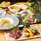 料理のみの女子会コースは2,980円!+1,000円で飲み放題付もOK!