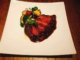 アンガス牛イチボ肉ステーキ グリーンペッパーソース