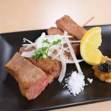 塩麹漬込み熟成牛タンの串焼き