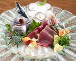 脂がのった鮮魚の白身や赤身などが味わえる「お造りの盛合せ」。内容はその日の仕入れによって異なる