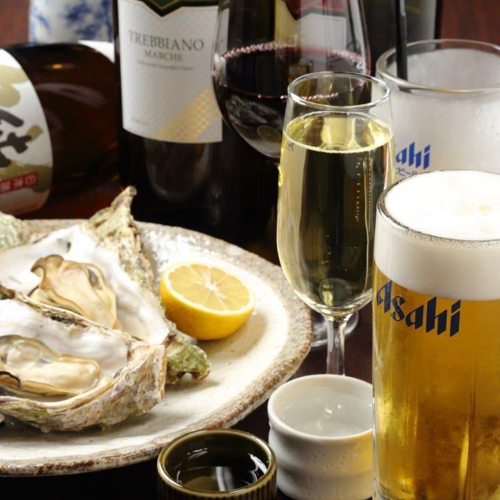 コスパ抜群のドリンク&牡蠣で昼飲み