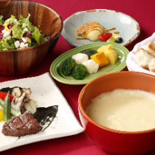 【春のアイガーコース】チーズフォンデュも、メインディッシュも選べて楽しい!