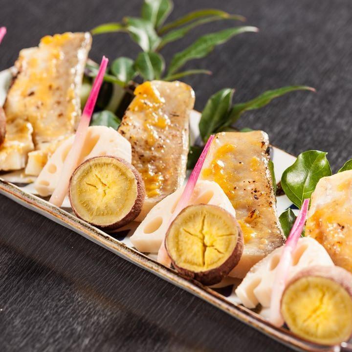 コース限定料理!盛り付けにもこだわった甘鯛の西京味噌焼き