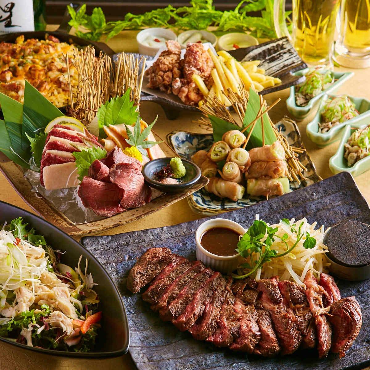 【肉堪能】日替わりステーキや肉刺しなど肉料理!2時間飲み放題付き8品3500円