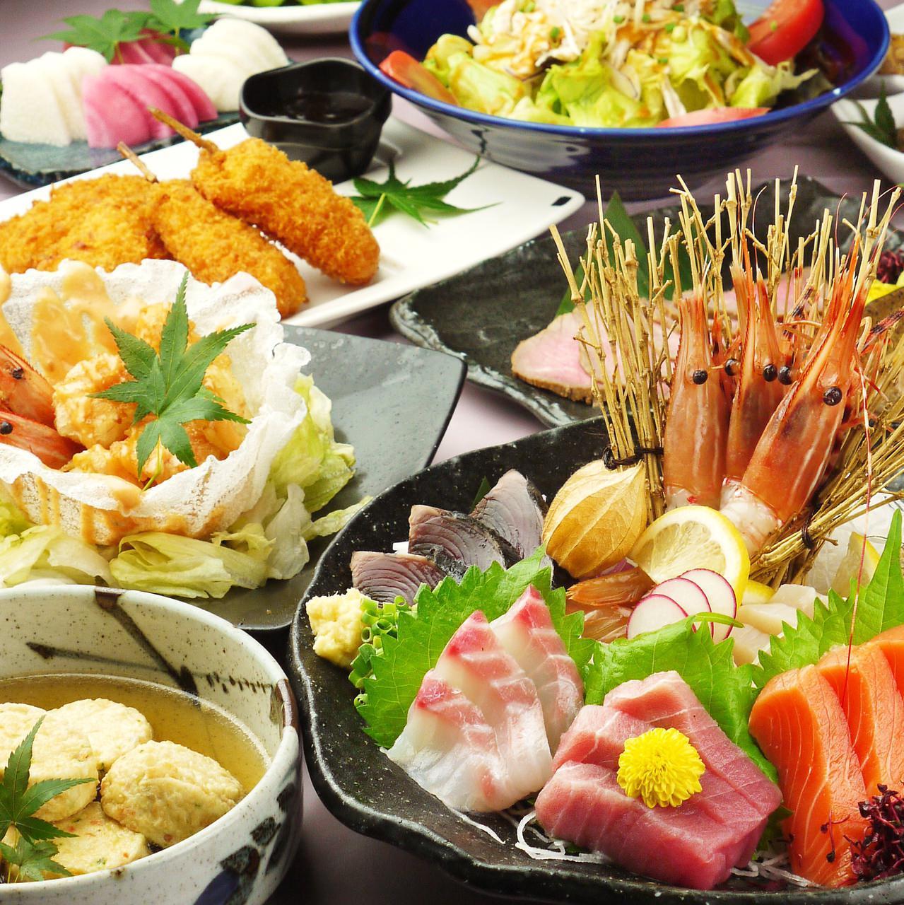【れんま】選べるメイン料理や三陸の鮮魚4点盛り!2時間飲み放題付き9品4000円
