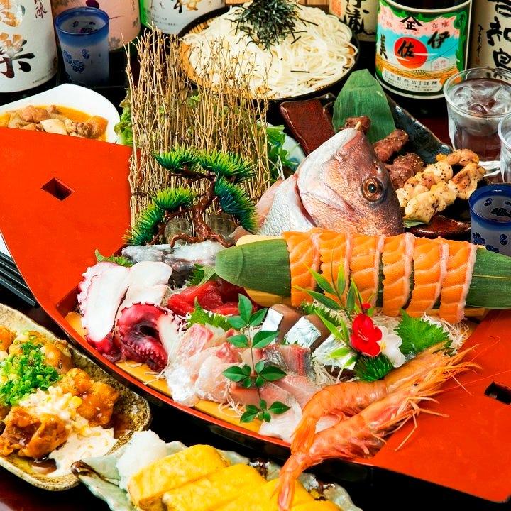 ポイント付♪【150分飲み放題付】船盛り付き!厳選料理10品 「竹」コースプラン