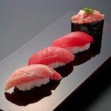 """本まぐろ4貫セット Tuna Nigiri 4 pieces """"色んな部位を味わってほしいからこれだけ4貫!"""""""