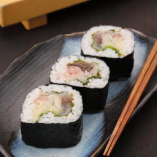 【New】江戸前中巻き	Minced Tuna with Green Onion, Vinegared Mackerel & Pickled Ginger Roll (medium)