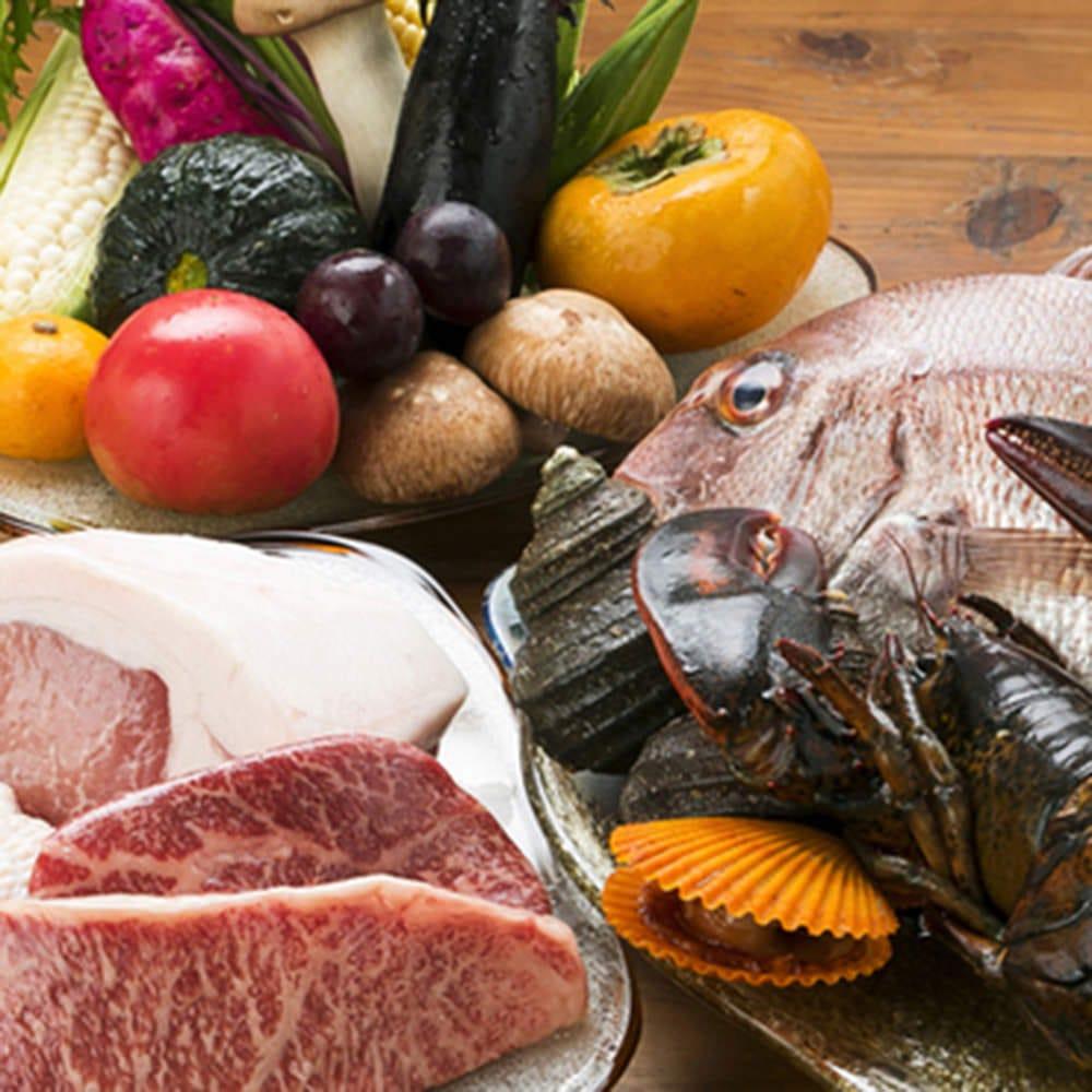 愛媛産の肉・魚・野菜を贅沢に使用
