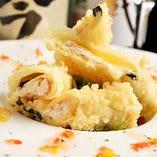 熊野地鶏のクリーム湯葉天