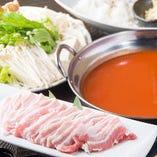 ・九州産豚しゃぶトマトソース ⇒【+500円】で米澤豚にグレードUP