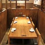 個室感覚で!ゆったり開放感溢れるテーブル席