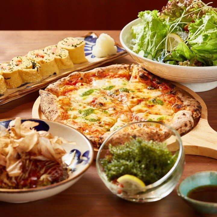 ◆当店の魅力満載!ステーキもお好み焼きもピッツァも味わえる2時間飲み放題付『大満足コース』[全12品]