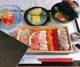 【ランチ特選海鮮丼御膳】ズワイ蟹・生うに・いくらなど。要予約
