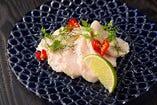 塩糀鶏ハムのカルパッチョ 柑橘カラフルハーブ風味