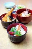平日限定!2つの味を1度に楽しむ【かわまちミニ丼セット】