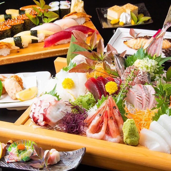 刺身の盛合せや本格江戸前寿司が楽しめる特撰七品コース