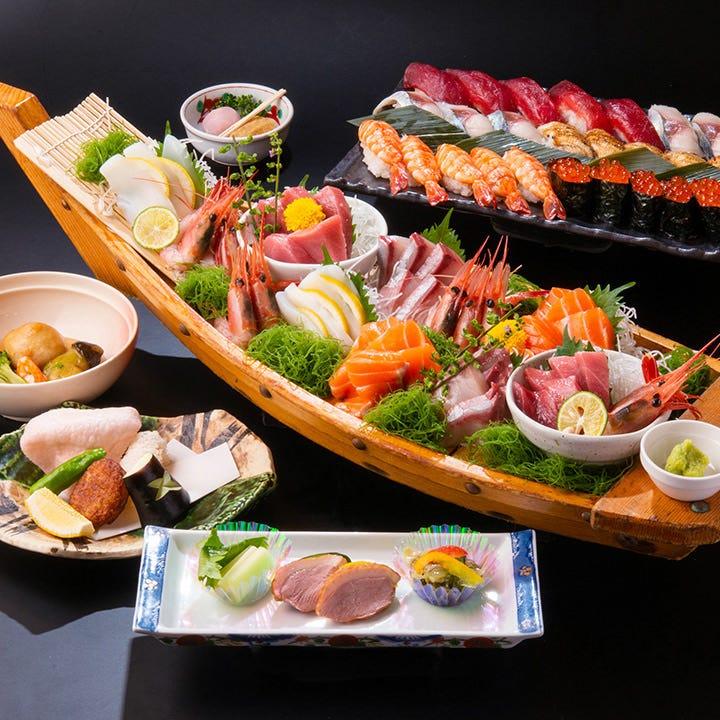 【2時間飲み放題付】刺身の盛合せや本格江戸前寿司が楽しめる込み込みコース[全6品]