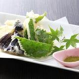旬の京野菜を使った天ぷら盛り合わせ
