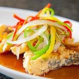 コース料理限定の白身魚の黒酢餡かけ