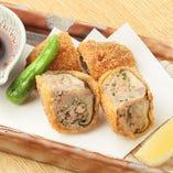 椎茸と合鴨つくねの肉詰めフライ
