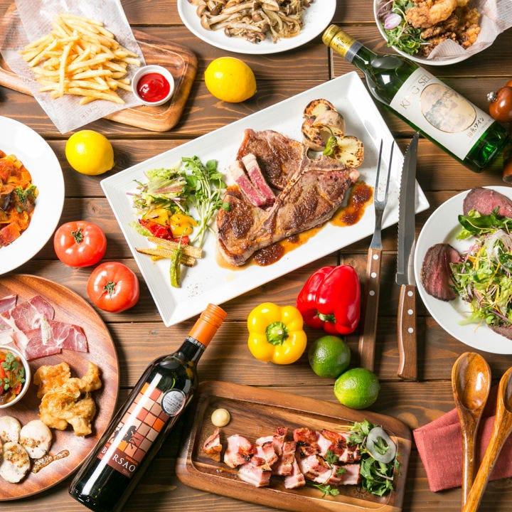 ステーキに焼きそば、唐揚げなど コース料理はボリューム満点★