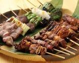 のんき自慢のもつ焼、野菜串!