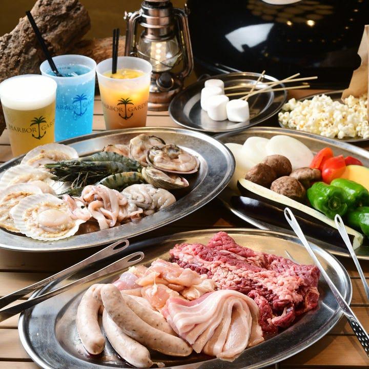 ◇フリードリンク120分付◇海鮮を味わう!お肉+魚介+お野菜のプレート【シーフードBBQコース】5,000円