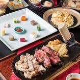 お昼のステーキコースはリブロースステーキと高原豚の組み合わせ!