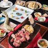 厳選食材使用。ステーキと洋風懐石のコース 4,800円(税別)〜