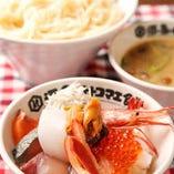 稲庭うどん+海鮮丼