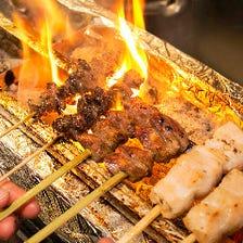 朝びき香取市産水郷どりを炭火で炙る