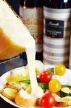 有機野菜とバケットのラクレットチーズがけ